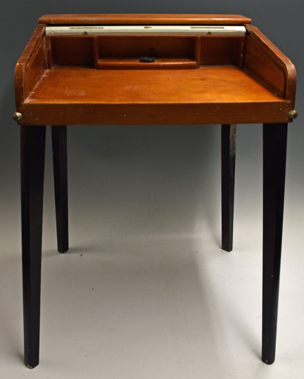 Vintage Childs Writing Desk with roll top and removable wooden legs, measur