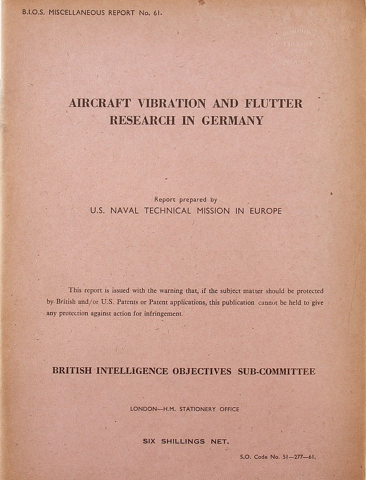 WWII Aircraft Vibration and Flutter Research in Germany Repo