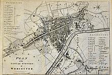 Worcester c.1709 Map depicting a plan of the City