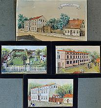 4x Late 19th Century Watercolours depicting variou