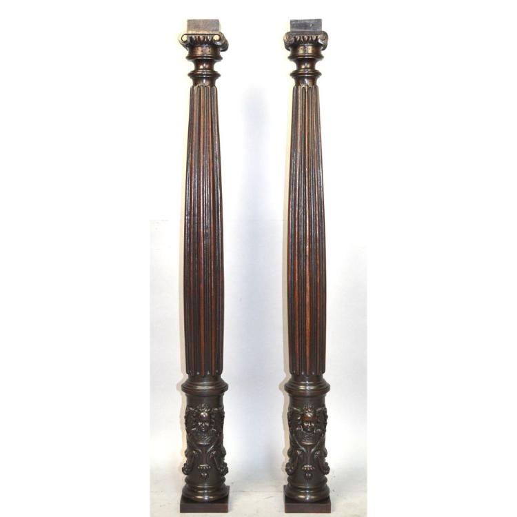 French Carved Walnut Renaissance style Pillars Columns