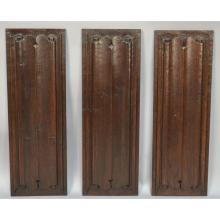 Set of Three Architectural Salvaged Gothic Linenfold Panels, 17th Century