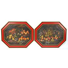 Pair Antique Continental Octagonal Paintings Fruits, 19th century