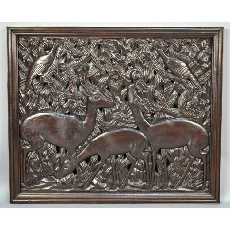 Large Carved African Panel Animals, Belgian Congo Era