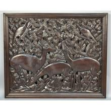 Large Carved African Panel Animals, Belgian Congo Era