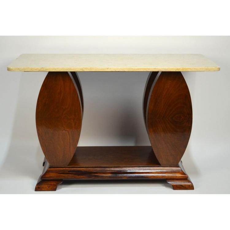 Stunning French Walnut Art Deco Marble Top Console Sofa Coffee Table, ca. 1930