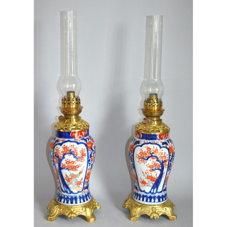 Fine Pair of Antique Japanese Imari Ormolu Mounted Oil Lamp Vases