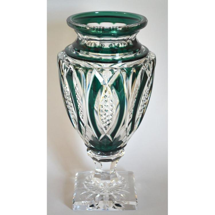 Vintage Hawaii Green Cut Val Saint Lambert Crystal Vase, signed
