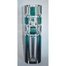Vintage Val Saint Lambert Cut Crystal Geometric Design Vase, signed