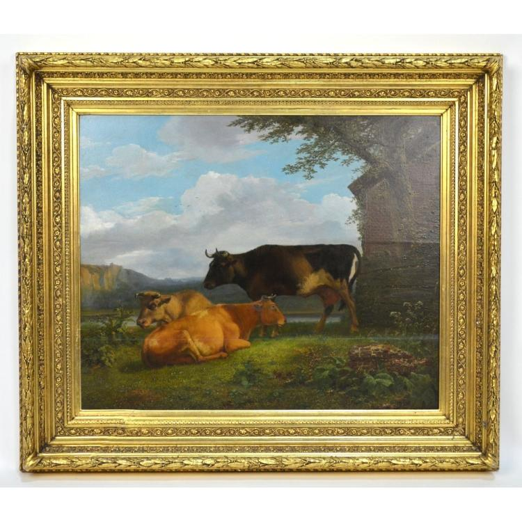 Antique Oil on Wood Panel of Bulls in a Pasture by Hendrik van der Poorten, Flemish (1789-1874)