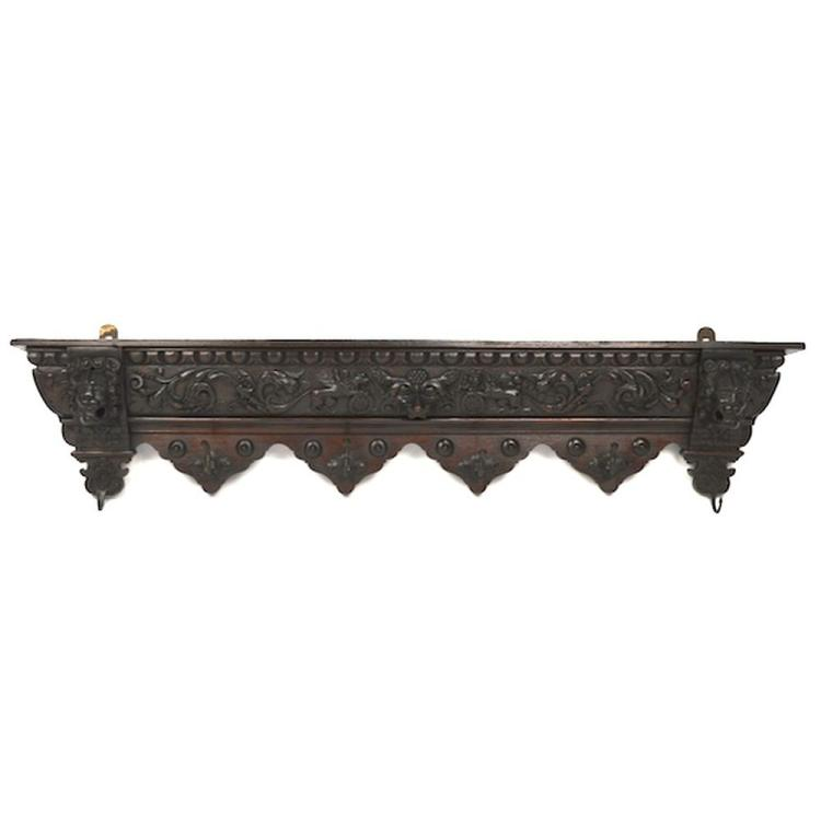 Antique Carved Oak French Louis XIII Renaissance Hunt style Wall Coat Rack Hanger