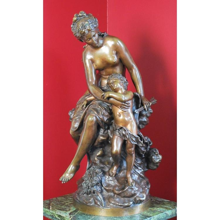 Mathurin Moreau (French, 1822-1912) Stunning Antique Bronze Statue of Venus and Cupid