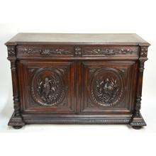 Antique French Carved Oak Black Forest Louis XIII style Hunting Buffet Sideboard Birds