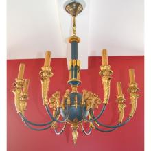 8 Arm French Empire style Gilt Bronze Chandelier with Bird Head & Neoclassical Decorations