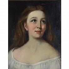 Antique Figural Portrait of Woman, Oil on Canvas Painting, A.J Buxton