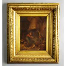 17 / 18th C. Painting ?The Alchemist?, manner of Adriaen Van Oostade Oil on Panel