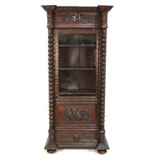 Antique 19th century French Carved Oak Louis XIII style Barley Twist One Door Bookcase