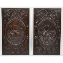 Exquisite Pair Antique Carved Walnut French Architectural Salvaged Wall Panels of Swans