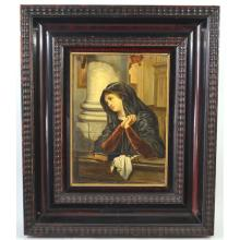 Antique Religious Painting of Woman Praying in Church, H. De Munck