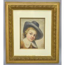 Portrait of a Boy, Watercolor Acquarelle, signed E.D 1720