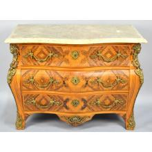 Italian Rococo style Bombe Marquetry Inlay Marble Top Commode Chest of Drawers