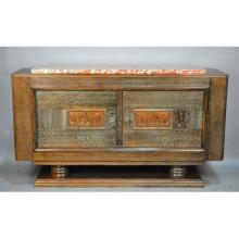 French Period Art Deco Ebonized & Limed Oak Marble Top Sideboard with Viking Panels