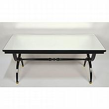French Black Lacquer Mirror Top Coffee Sofa Table, manner of Andre Arbus