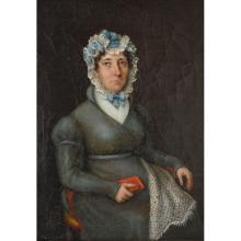 Antique 19th century English Oil On Canvas Portrait of a Lady with Lace Bonnet