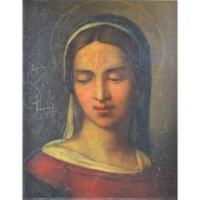 Antique 19th century Continental Religious Painting depicting the Virgin Mary