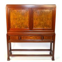 Mahogany & Burr Walnut Bar Cabinet on Stand by Henri Dreesen
