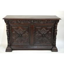 Antique English Edwards & Roberts Carved Oak Geometric Figural Renaissance Sideboard Buffet