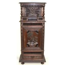 Antique French Country Carved Chestnut Brittany One Door Bonnetiere Bar Linnen Cabinet