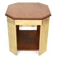French Art Deco Carved & Painted Oak Coffee / Side Table, ca. 1930