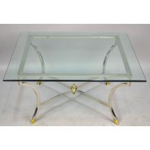 French Mid Century Modern Square Chrome Coffee Table, Manner Maison Jansen ca. 1960