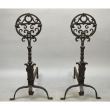 Pair of Antique English Wrough Iron Art Nouveau Andirons