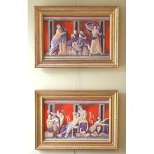 Pair Boehm Porcelain Relief Placques Depicting Roman Scenes of Dionysus & Aridne