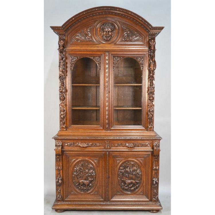 Antique Best French Carved Oak Louis XIII Hunt Gun Cabinet Bookcase - Antique Best French Carved Oak Louis XIII Hunt Gun Cabinet B