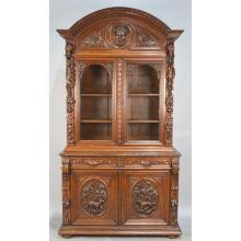 Antique Best French Carved Oak Louis XIII Hunt Gun Cabinet Bookcase