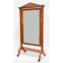Exceptional Antique French Period Empire Mahogany Cheval Dressing Psyche Mirror