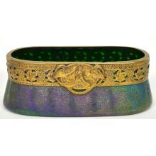 Superb Antique French Art Nouveau Bronze & Multi Colored Glass Bowl