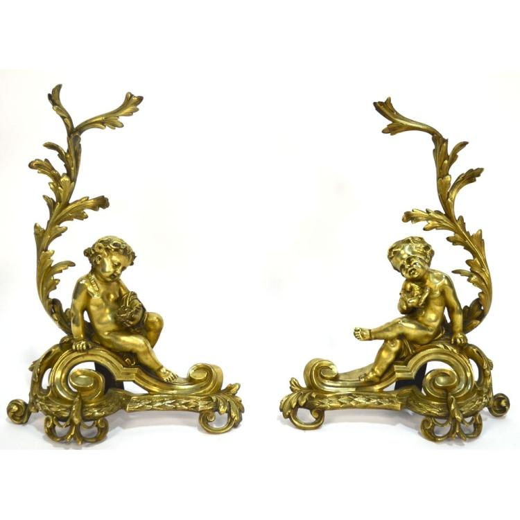 19th century French Figural Pair Bronze Chenets Andirons