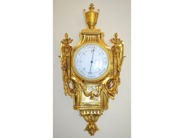 Fine 19th century French Louis XVI style Bronze Barometer