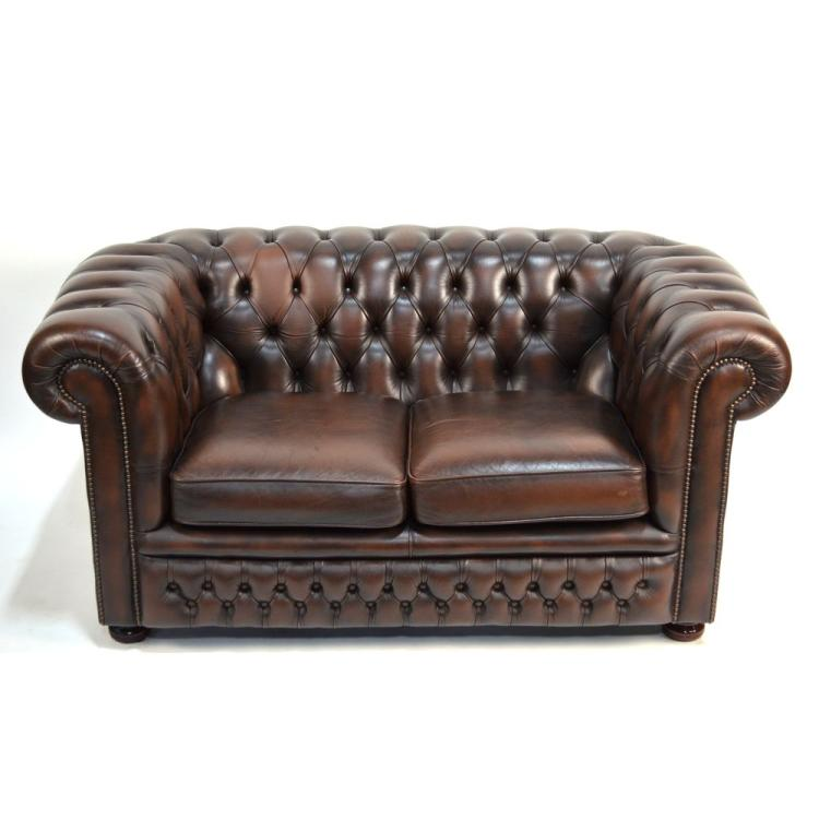 English Tufted Leather Chesterfield Sofa by Springvale