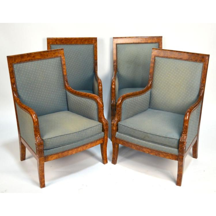 Set of Four Faux Burled Painted Continental Empire Armchairs