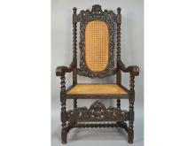 19th Century Caned Oak French Neo-Renaissance Desk Chair Armchair Cherub