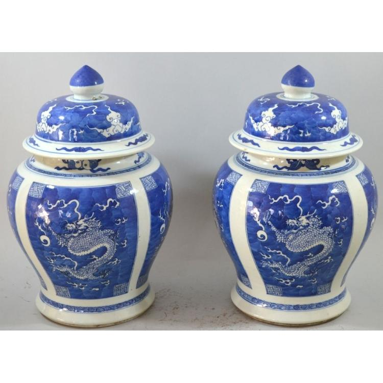 Vintage Pair of Blue and White Chinese Hand Painted Dragon Vases
