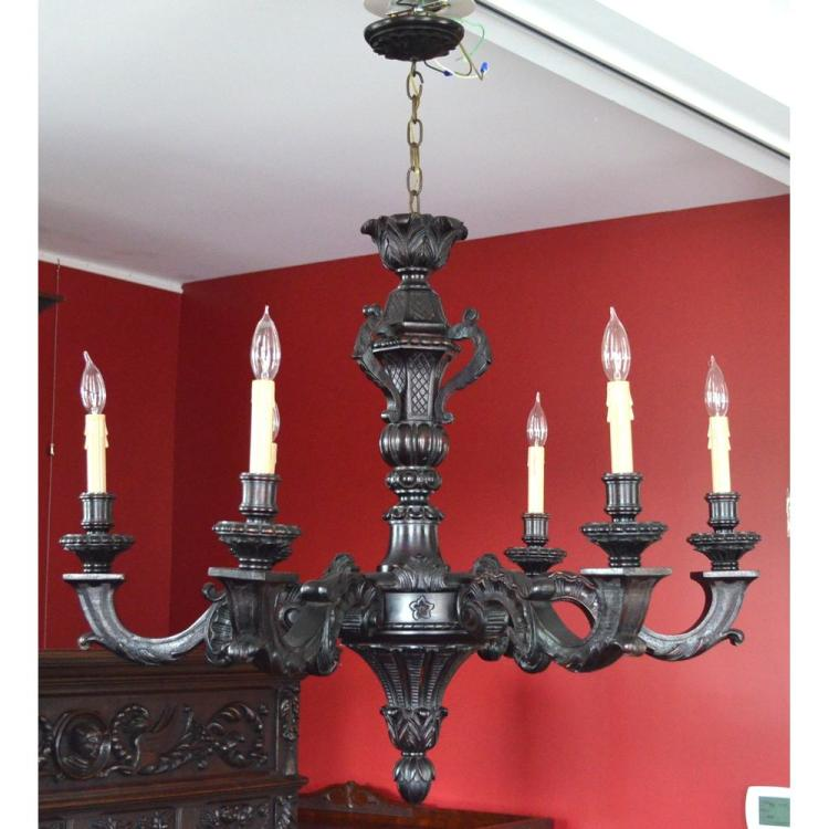 Exquisite Antique English Carved Wood Ebonized Chandelier