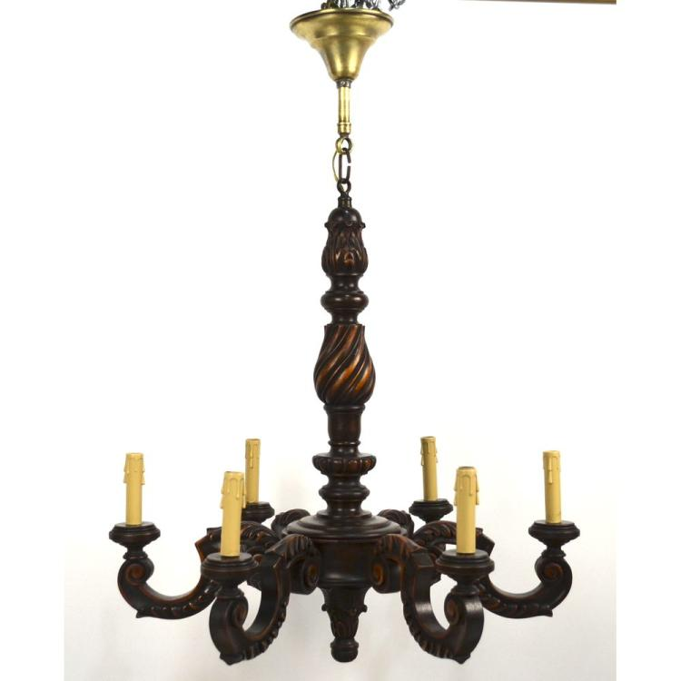 Vintage French Carved Walnut Wooden Chandelier