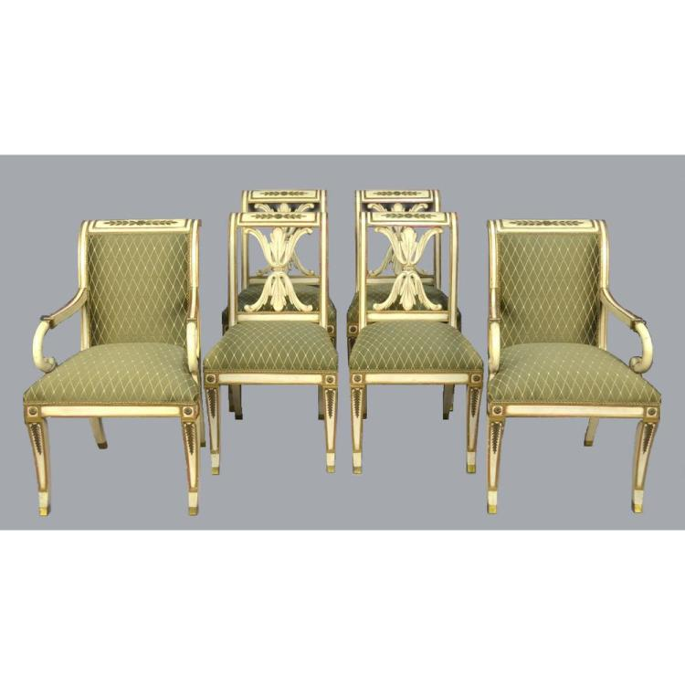 Set of Six Painted Neo-Classical Dining Chairs, manner Maison Jansen