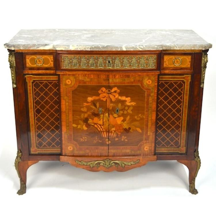 Antique French Louis XVI Belle Epoque Fruitwood Marquetry Buffet